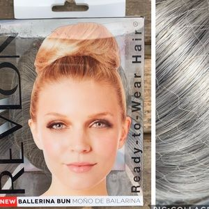 Silver grey hair bun wig